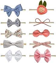 SZQCZB Baby Girls Nylon Elastic Headband Soft Flower And Bow Hair Band For Toddler Infant Newborn 10 Pcs