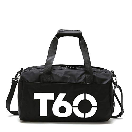 ZOORON Sports Gym Bag for Men and Women, Duffel Bag with Shoes Compartment and Wet Pocket, Waterproof Travel Bag (B2-Black(30L))