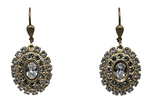 Catherine Popesco La Vie Parisienne Swarovski Oval Earrings Clear & Grey ()