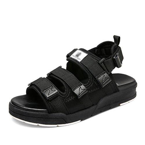 Sandals ZCJB Summer Sport Flat Beach Shoes Student Velcro Flat Shoes Wild Casual Shoes (Color : White, Size : 35) Black