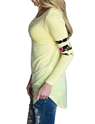 Shirt Imprim Chemisiers Longues Haut Casual Epissure Blouse Femmes New Fashion Svelte Manches Jaune Rond Col Long Shirts T CWCentury t x0qTU4wB