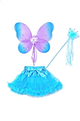 Two Toned Tutu (Turquoise & Purple Butterfly Wings Tutu Wand Toddler Girl Costume Dress Up 2-5T)