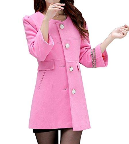 Zimaes Women's Flexible Fit Mid Length Wool Plus Size Vogue Pea Coat Pink XL