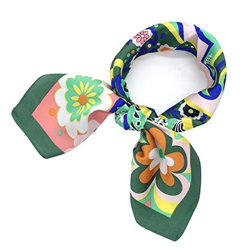 YOUR SMILE Silk Feeling Like Scarf Women's Fashion Pattern Large Square Satin Headscarf Headdress 24''x24'',Colorful Flower