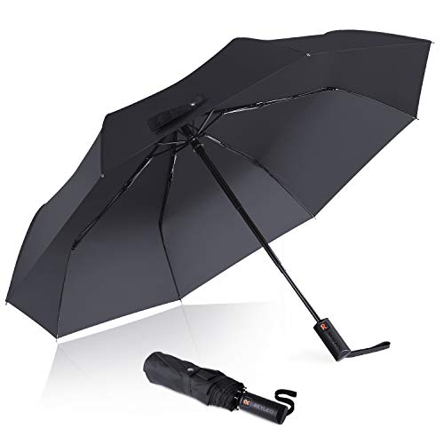 (REYLEO Folding Umbrellas, Travel Umbrella Windproof Up to 120km/h, Teflon Coating, Auto Open/Close Button, Can be Folded 10000+ Times, WU01A)