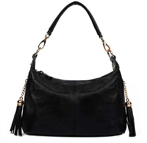 Women's Leather Double Bag Yaluxe Top Cross Small Body Black Shoulder Zippered Handle Handbag Pockets d5qw5IC