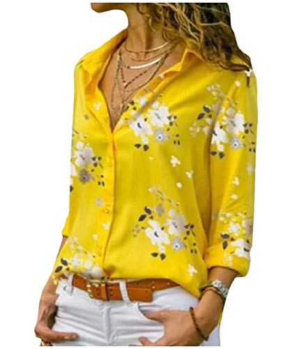 Sayah Womens Floral Printed Turn Down Collar Long Sleeve Baggy Single-Breasted Top Shirt Yellow L
