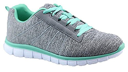 Shop Pretty Girl Womens Athletic Knit Mesh Running Sneaker Light Weight Go Easy Walking Casual Comfort Running Shoes 2.0 (8, Green and Grey) Athletic Casual Tennis Shoes