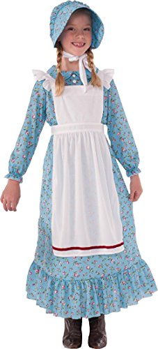 Forum Novelties Girls Pioneer Costume, Blue, (Girls Pioneer Girl Costumes)