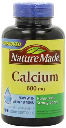 Nature Made calcium 600 mg avec vitamine D 100 gélules (pack de 3)