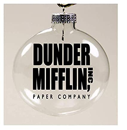 merch massacre dunder mifflin paper co the office christmas ornament glass disc holiday horror
