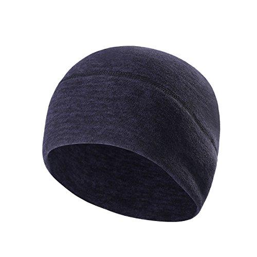 UHEREBUY Helmet Liner - Running Beanie Cap/Fleece Hat/Winter Skull Cap - Cold Weather Motorcycle Chemo Cap (Dark Blue)
