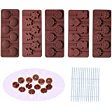 BAKER DEPOT Silicone chocolate Lollipop Mold with 6 Holes, Double Heart, Star, Small Flower, Smile Face, Round, Etc…