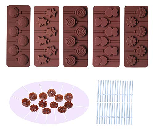 BAKER DEPOT Silicone chocolate Lollipop Mold with 6 Holes, Double Heart, Star, Small Flower, Smile Face, Round, Etc, Design, Set of 5 (Candy Lollipop Molds)