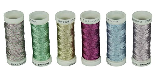 6 Colors 3-Ply Metallic Tatting yarn 50 meters each for Tatting Jewellery lacemaking (Set #2)