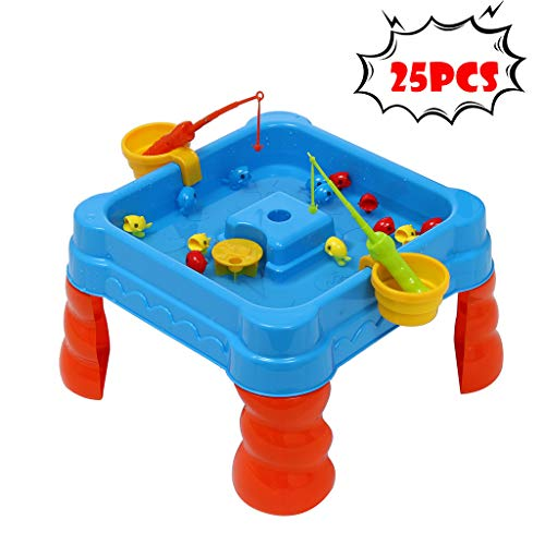 25 Pcs Fishing Game Water Table for Kids, - Beach Bath Toys Floating Fish Play Sets, Toddler Sand/Water Table - Detachable Legs, Scoop, Buckets - Indoor and Outdoor Kids Toy Set (As Show)