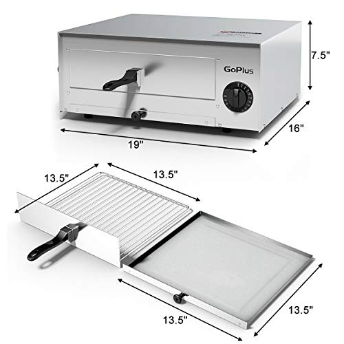 Goplus Stainless Steel Pizza Oven Electric Pizza Maker Pizza Baker with Snack Pan, Snack Maker, Counter Top, Commercial & Kitchen Use (Silver) by Goplus (Image #6)