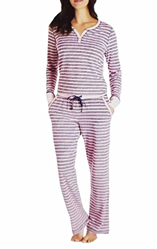 Nautica Women's 2 Piece Fleece Pajama Sleepwear Set (Pink Stripe, XXL)