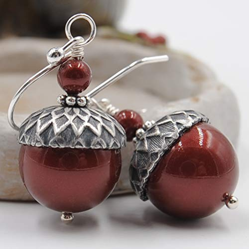 Acorn Earrings with Bordeaux Simulated Pearls from Swarovski, Sterling Silver Earwires