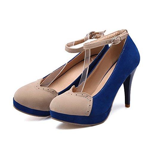 AllhqFashion Damen Mattglasbirne Schnalle Rund Zehe Hoher Absatz Pumps Schuhe Blau