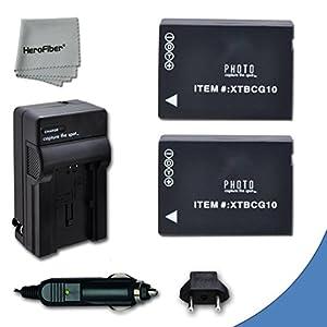 2 High Capacity Replacement Panasonic DMW-BGC10 / DMW-BGC10PP Batteries with AC/DC Quick Charger Kit for Panasonic Lumix DMC-3D1, DMC-TZ6, DMC-TZ10, DMC-TZ18, DMC-TZ19, DMC-TZ20, DMC-TZ25, DMC-TZ30, DMC-TZ35, DMC-ZR1, DMC-ZR3, DMC-ZS1, DMC-ZS5, DMC-ZS6, D