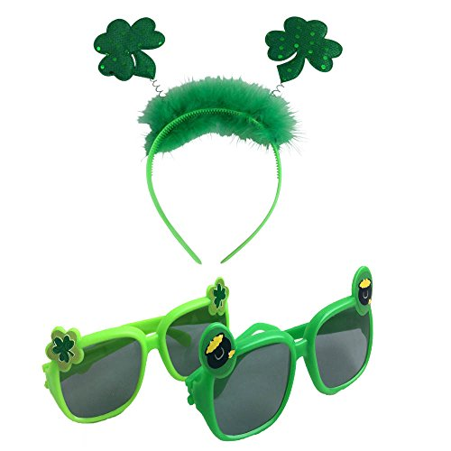 St Patricks Day Kids Party Accessory Kit- Shamrock Head Bopper and Sunglasses -