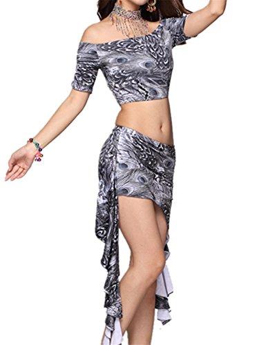Belly Dance Set Off Small Top+Milk silk Irregular Edges Skirt (Cheap Belly Dancer Halloween Costume)
