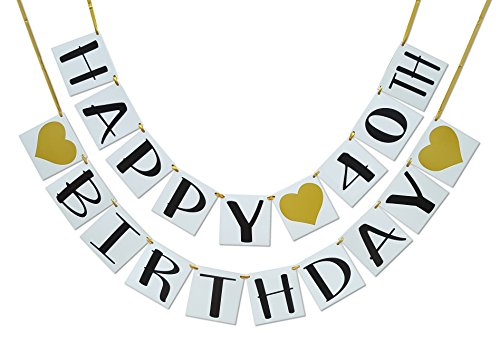 Happy 40th Birthday Banner - Gold Hearts and Ribbon - Birthday Decorations