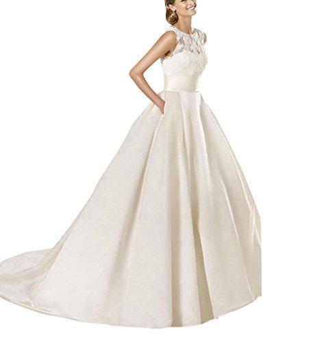 Ballkleid Spitze mit koenigliche Chantilly Details BRIDE Weiß Perlen mit Taschen Tuell GEORGE und Satin und 8wpRC