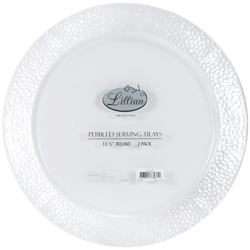 Lillian Tablesettings Round Pebbled Tray (Pack of 2), 14'', Pearl