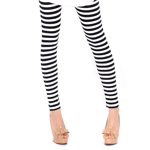 (Locomo Women Black White Horizontal Stripes Striped Footless Legging S-M)