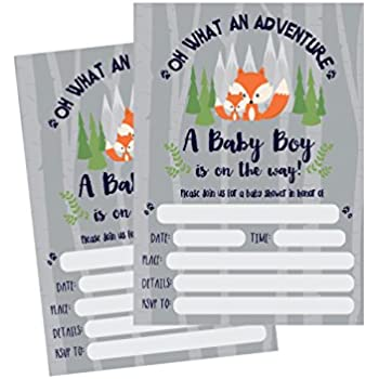 50 Fill In Fox Baby Shower Invitations Woodland Custom Rustic