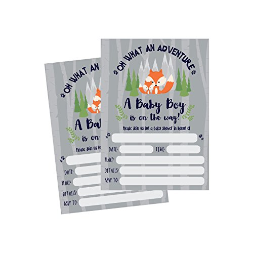 50 Fill in Fox Baby Shower Invitations, Baby