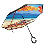 Car Reverse Umbrella,Deck Chairs Overlooking Tropical Sea Of Thailand Beach Exotic Holiday Picture,With