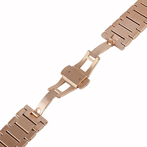 Wearlizer Lux Metal Link Bracelet Bands with Butterfly Closure for Fitbit Charge 2 - Rose Gold