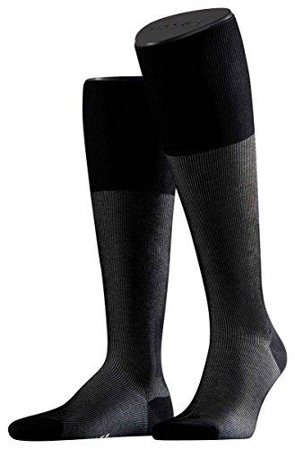Falke Mens Fine Shadow Knee High Socks - Black/Grey - Extra Small -