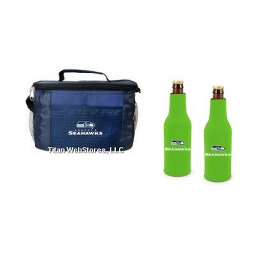 (NFL Football Team Logo 6 Pack Tailgating Cooler and Neoprene Bottle Suits Gift Set (Seahawks))