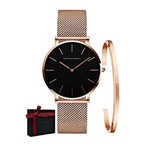 Valentines Gifts Women's Analog Quartz Rose Gold Watch with Stainless Steel Mesh Strap Ladies Watch Simple and Elegant Gift