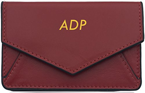 Genuine Leather Red/Black Personalized RFID Card Holder