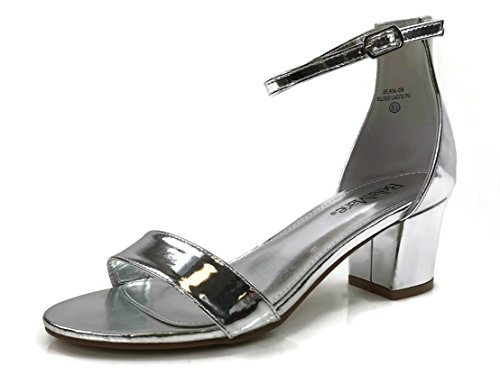 Bella Marie Classified Chunky Block Heel Dress Sandal Over Toe & Ankle Wrap Strap, Silver, 9 Chunky Heel Dress Sandals