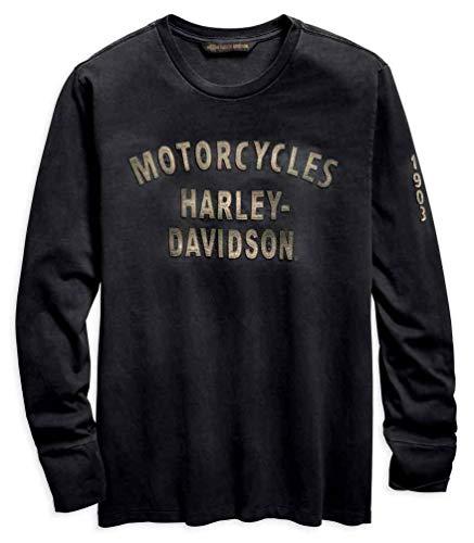 Harley-Davidson Men's Felt Letter Slim Fit Long Sleeve Shirt 96559-19VM (3XL) Gray