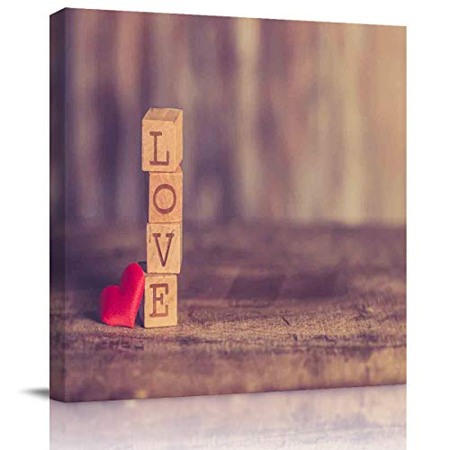 (Miss Sweetheart Canvas Wall Art - On The Board are Four Small Wooden Blocks Carved with Love Artwork Prints Contemporary Decor for Home Living Room Bedroom Decoration Framed Ready to Hang 12X12In )