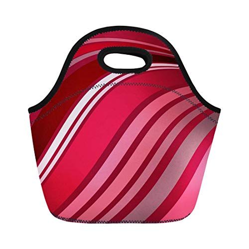 Semtomn Lunch Tote Bag Abstract of Flowing Stripes in Wavy Pattern Shades Red Reusable Neoprene Insulated Thermal Outdoor Picnic Lunchbox for Men Women