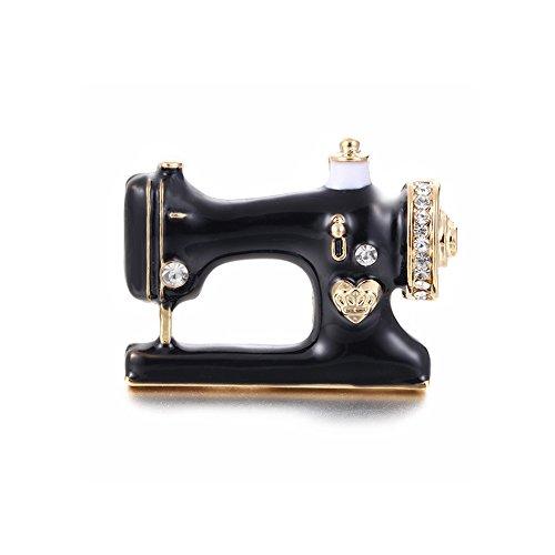 MISSU JEWELLRY Black Enamel Sewing Machine Collar Brooch Pin for Women Dress Accessories