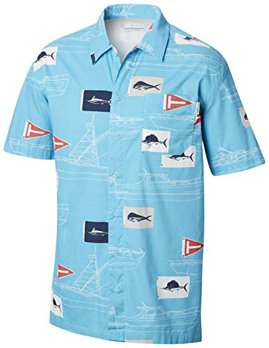 Columbia Men's Trollers Best Short Sleeve Shirt, Atoll Boat Flags Print, Small