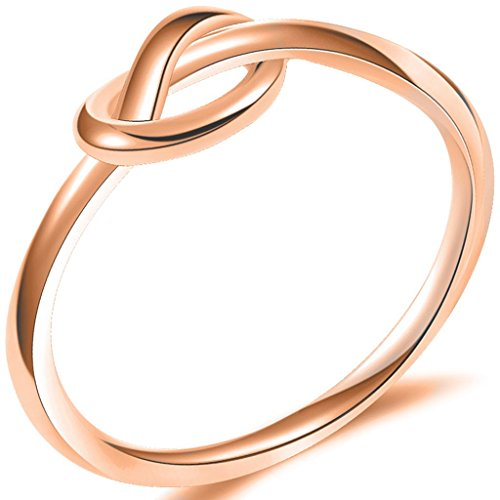 Jude Jewelers Durable Stainless Steel Silver Black Love Knot Ring Promise Celtic (Rose Gold, 8)