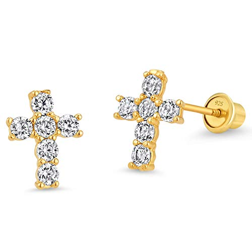- 14k Gold Plated Brass Cross Cubic Zirconia Screwback Baby Girls Earrings with Sterling Silver Post