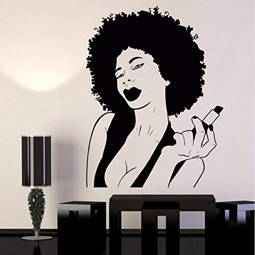 pbldb Woman Black Lady Lips Pomade Makeup Vinyl Wall Decal Home Decor Bedroom Art Mural Removable Wall Stickers58X44 cm ()