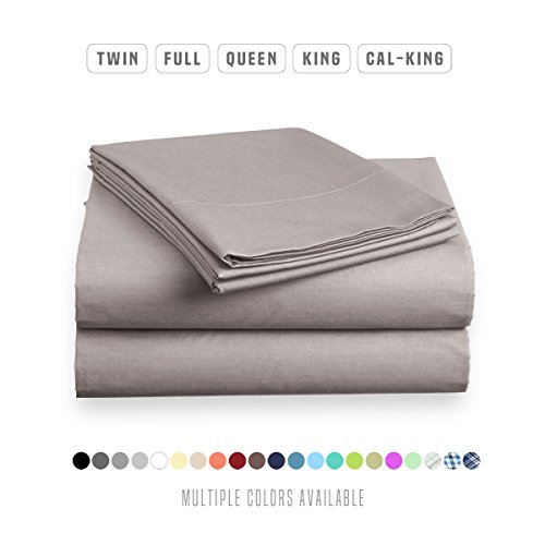 Luxe Bedding Sets - Queen Sheets 4 Piece, Flat Bed Sheets, Deep Pocket Fitted Sheet, Pillow Cases, Queen Sheet Set - Gray Luxe Cotton Collection