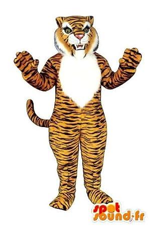Disfraz de tigre anaranjado y blanco a rayas negro: Amazon.es ...